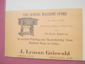 1918 Ad J. Lyman Griswold Springfield Sewing Machine