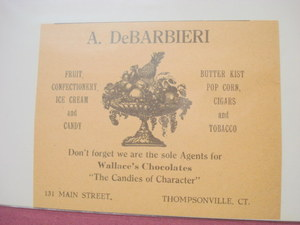 1918 A. DeBarbieri Thompsonville Ct Food Retailer Ad