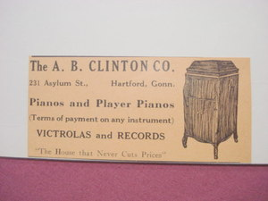 1918 Ad The A. B. Clinton Co., Hartford, Ct. Piano