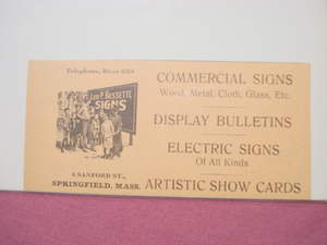 1918 Ad Leo P. Bessette Signs Springfield, Mass.