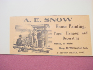 1918 Ad A. E. Snow House Painting, Stafford Springs, Ct.