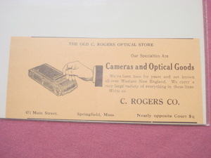 1918 Ad C. Rogers Co. Camera Store Springfield, Mass.