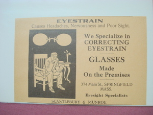 1918 Ad Scantlebury & Munroe Springfield, Mass. Glasses