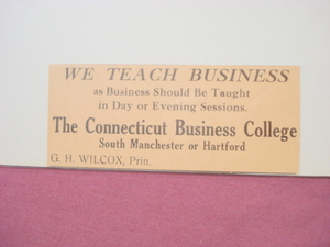 1918 Ad The Connecticut Business College Hartford, Ct.