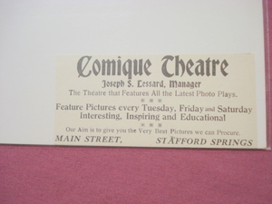 1918 Ad Comique Theatre, Stafford Springs, Ct.