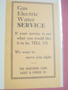 The Northern Conn. Light and Power Co. 1918 Ct. Ad