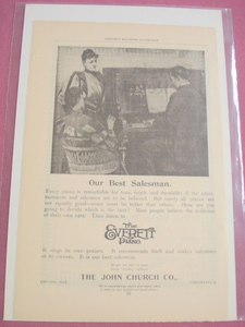 1893 Ad The Everett Piano The John Church Co. Chicago