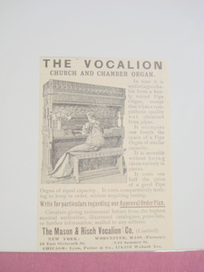 1893 Ad The Mason & Risch Vocalion Worcester, Mass.