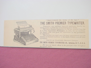 1893 Ad The Smith Premier Typewriter Co. Syracuse, N.Y.