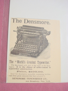 1893 The Densmore Typewriter Co. Ad New York