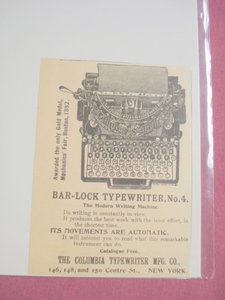 1893 Ad The Columbia Typewriter Mftg. Co. New York