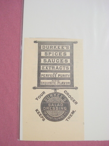 1889 Ad Durkee's Spices, Mustard, & Salad Dressing