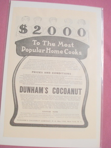 1905 Dunham's Cocoanut Cooking Contest Ad