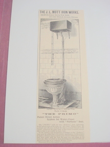 1893 Ad J. L. Mott Iron Works The Primo Water Closet