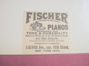 1893 Ad Fischer Pianos New York City