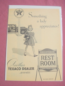1940's/50's Texaco Gasoline Rest Room & Little Girl Ad