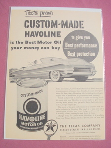 1940's/50's Texaco Havoline Ad With Havoline Oil Can