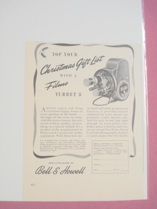 1940's Ad Bell & Howell Filmo Turret 8 Movie Camera