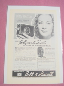 1945 Bell & Howell Filmo Movie Camera Ad Betty Hutton