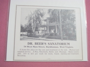 1921 Ad Dr. Beer's Sanatorium Buckhannan, West Virginia
