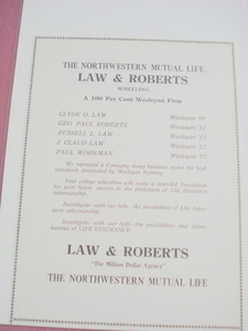 1921 Ad Law & Roberts NML Insurance, Wheeling, W. Va.