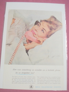 1962 Bell Telephone System Bedside Phone Color Ad