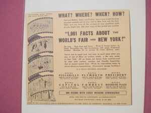 1939 New York World's Fair Hotel Piccadilly Ad