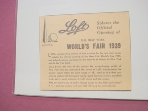1939 New York World's Fair Loft, Inc. Candies Ad