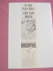 1964 Murine Ad Refresh Your Eyes Like Sam Snead
