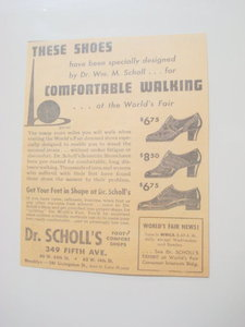 1939 New York World's Fair Dr. Scholl's Shoes Ad