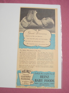 1940s/50s Heinz Baby Foods Strained Custard Pudding Ad