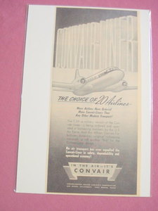 Convair Liner Transport 1940's/50's Ad