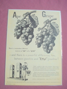 1950 Ethyl Corporation Gasoline Ape & Grape Ad