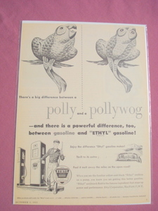 1951 Ethyl Corporation Gasoline Polly and Pollywog Ad