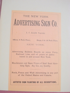 1890 Ad The New York Advertising Sign Co.