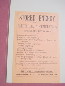 1890 Ad The Electrical Accumulator Company, New York
