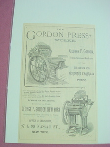 1890 Ad The Gordon Press Works, Gordon's Franklin Press