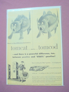 1940s/50s Ethyl Corporation Gasoline Tomcat and Cod Ad