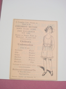 1923 Ad Children's Undermuslins Richmond Underwear Co.