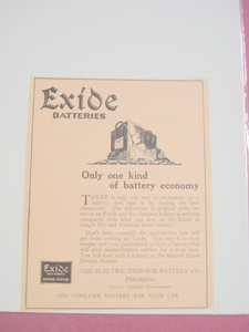 1923 Exide Batteries Ad Electric Storage Battery Co.