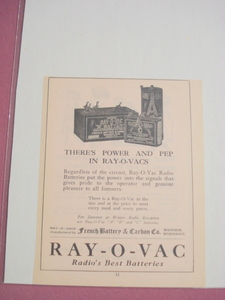 1924 Ad-Ray-O-Vac-Radio's Best Batteries-Madison, Wisc