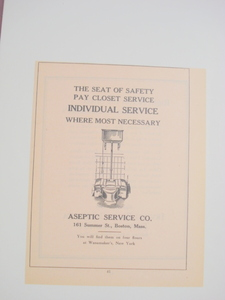 1924 Ad Aseptic Service Co., Toilets Boston, Mass.