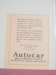 1924 Ad-Autocar Co.Ardmore, Pa.-Gas & Electric Trucks