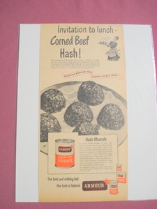 1940's/50's Armour Corned Beef Hash Ad With Recipe