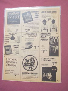1973 Osmond Brothers Merchandise Order Form