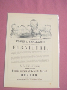 1853 Ad Edwin A. Smallwood Furniture Mftr. Boston