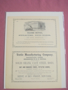 1853 Ad Globe Hotel, Syracuse, New York