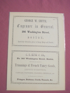 1853 Ad George W. Smith Maps & Charts Engraver, Boston