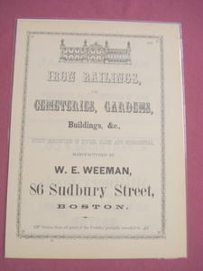 1853 Ad W. E. Weeman, Iron Railings Manufacturer, Boston
