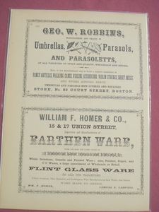 1853 Ad Geo. W. Robbins Umbrella, Parasol Mftr.-Boston